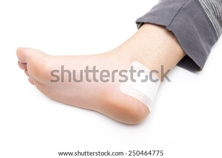 standing with a healed wound on a white background - stock photo