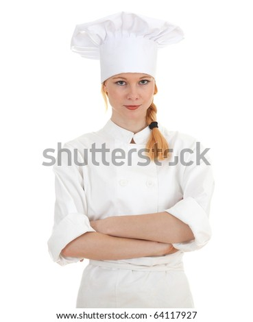 standing woman cook in white uniform and hat with crossed arms