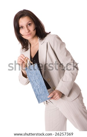 standing women in grey suit keeping blue present bag - stock photo