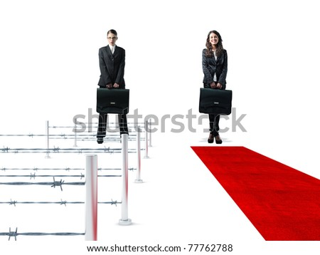 standing women with bag and 3d easy and hard way - stock photo
