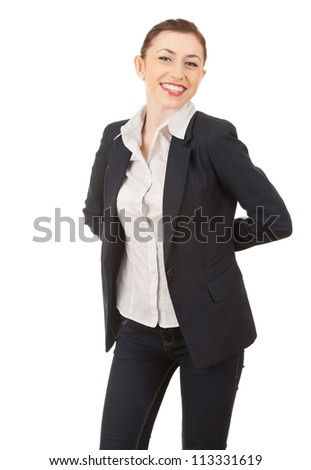 standing young businesswoman in elegant clothes, smiling, white background - stock photo
