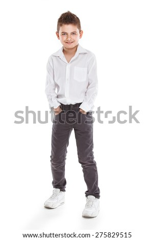 standing young cool boy isolated over white background - stock photo