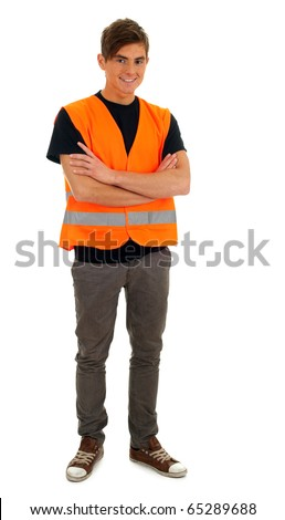 standing young man in orange protective waistcoat - stock photo