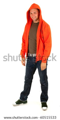 standing young man in orange sweatshirt, isolated - stock photo