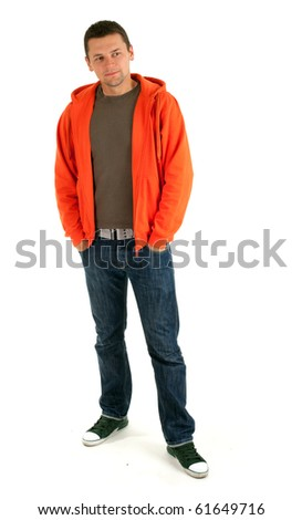 standing young man in orange sweatshirt, isolated