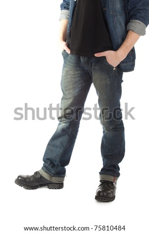 standing young man with hand in pocket - stock photo
