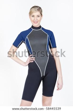 standing young woman wearing neoprene - stock photo