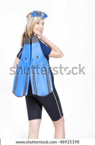 standing young woman wearing neoprene with flippers and diving goggles - stock photo