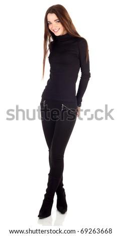 standing young woman with brown, long hair - stock photo