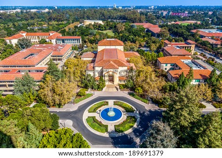 STANFORD, CA/USA - NOVEMBER 11: view of historic Standford University campus seen on November 11, 2013, California, USA - stock photo