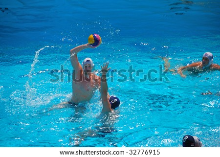 STANFORD, CALIFORNIA - JUNE 7: USA:SERBIA friendly water polo game at the Avery Aquatic Center in Stanford, CA on June 7, 2009. - stock photo