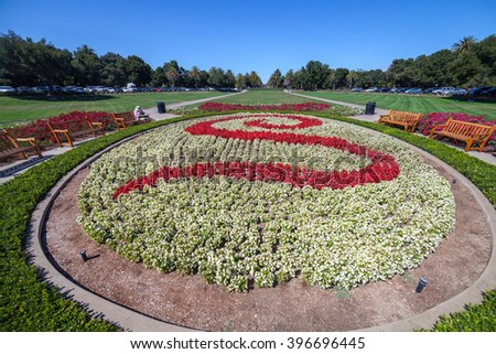 Stanford University and park. Stanford University is one of the world's leading research and teaching institutions. It is located in Stanford, California. - stock photo