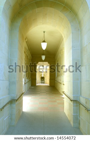 Stanford University thick stone walls of hallway