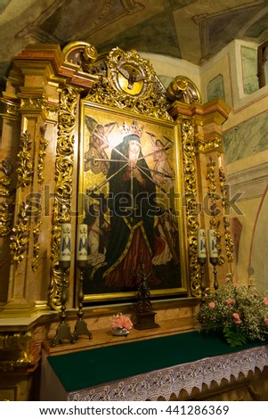Staniatki, Poland - June 9, 2016: The historic convent, the nuns of the Benedictine abbey, the image of Our Lady the Seven Sorrows. - stock photo