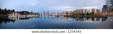 Stanley Park (180 Panorama) - Long exposure shot viewing coal harbor and downtown vancouver.