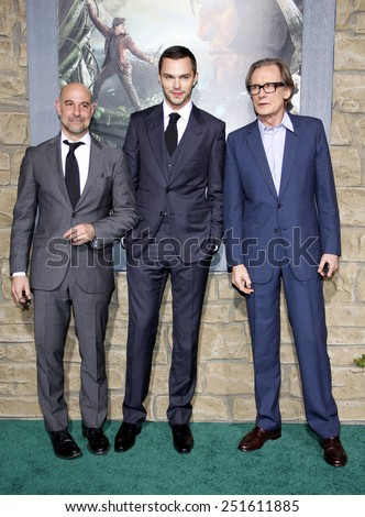 "Stanley Tucci, Nicholas Hoult and Bill Nighy at the Los Angeles Premiere of ""Jack The Giant Slayer"" held at the TCL Chinese Theater in Hollywood, California, United States on February 26, 2013.  - stock photo"