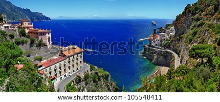 stanning Amalfi coast - Atrani village - stock photo