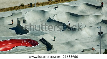 Stapelbaddsparken is a famous skateboard park in Malmo, Sweden. - stock photo