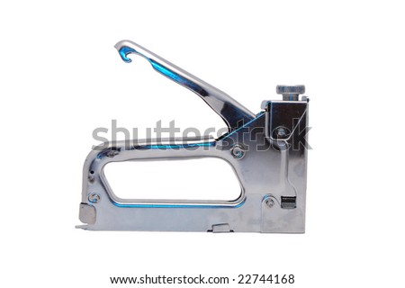 staple gun isolated on white - stock photo