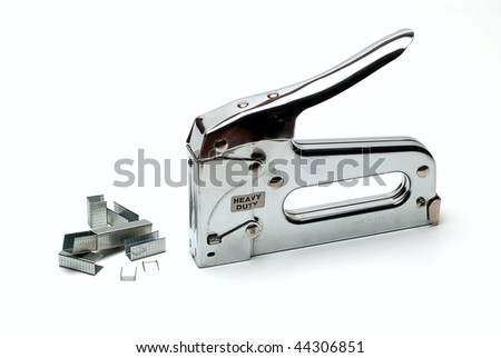 staple gun with staples isolated