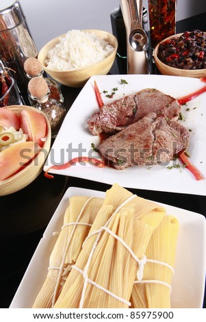 Staple latino meal, steak with rice and beans - stock photo