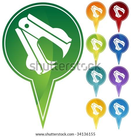staple remover icon pin - stock photo