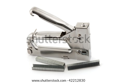 Stapler for repair of furniture on a white background