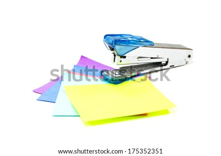 stapler isolated on a white background. - stock photo