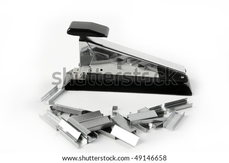 Stapler on stainless steel silver chrome and black over white