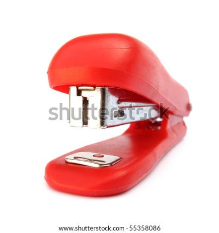 Stapler red common office device - stock photo