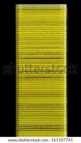 Staples Close-up on Black Background - stock photo