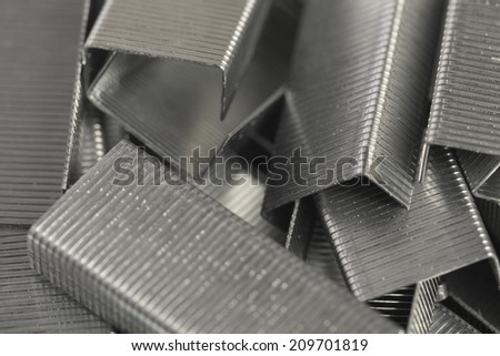 Staples paper clips, background. - stock photo