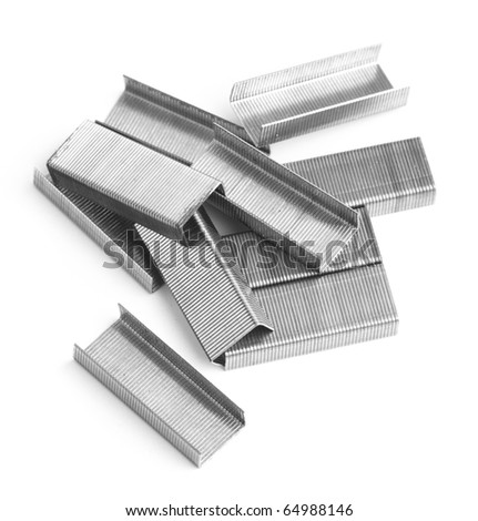 staples stack isolated on a white background - stock photo