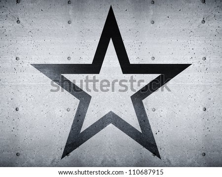 Star abstract shape on concrete wall