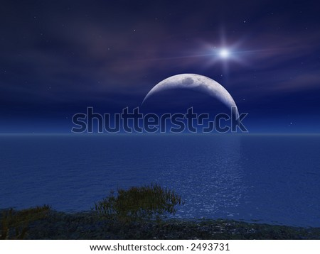 Star and Night Moon Over Sea - stock photo