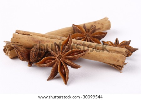 Star anise and Cinnamon - stock photo
