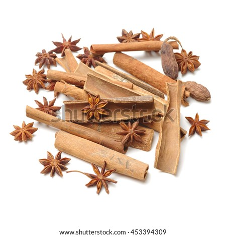 Star anise and cinnamon on white background
