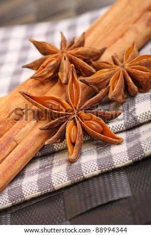 star anise and cinnamon sticks - stock photo