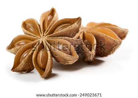 Star anise, badiane spice isolated on white background - stock photo