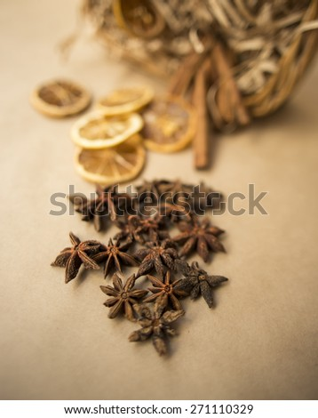 star anise, cinnamon - stock photo