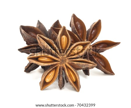 Star Anise Group Isolated on white