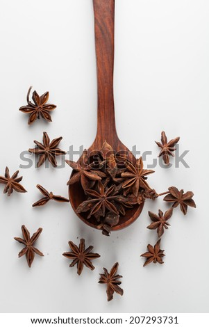 Star anise in wooden spoon isolated on white background - stock photo