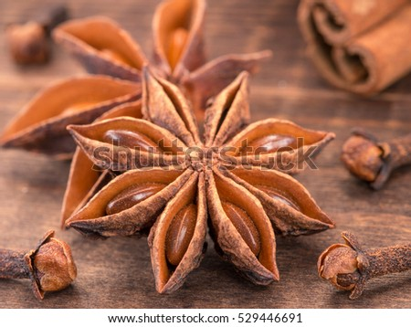 star anise on wooden background close up. Blurred clove and cinnamon sticks as background