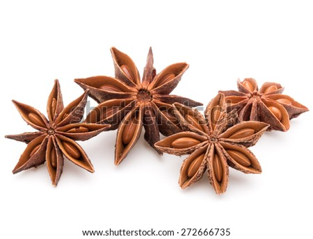 Star anise spice fruits and seeds isolated on white background closeup - stock photo