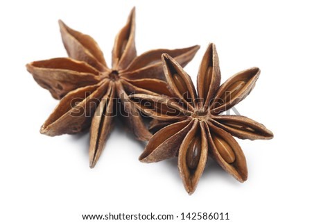 Star Anise spice macro, delicious licoricey flavor on white background.