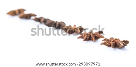 Star anise spice over white background