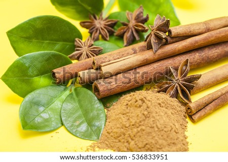 star anise with cinnamon stick an cinnamon powder on white background