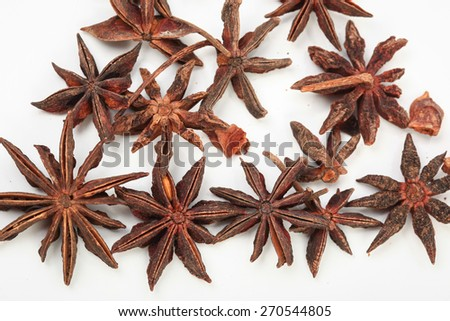 Star Aniseed isolated on white background. image suitable for restaurants, supermarkets, wholesalers, resellers Aniseed products or health products based on Star Aniseed - stock photo