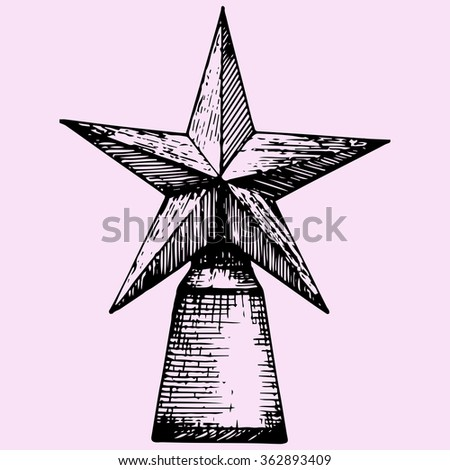Star award, doodle style, sketch illustration, hand drawn, raster - stock photo