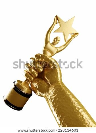 Star award in golden hand - stock photo